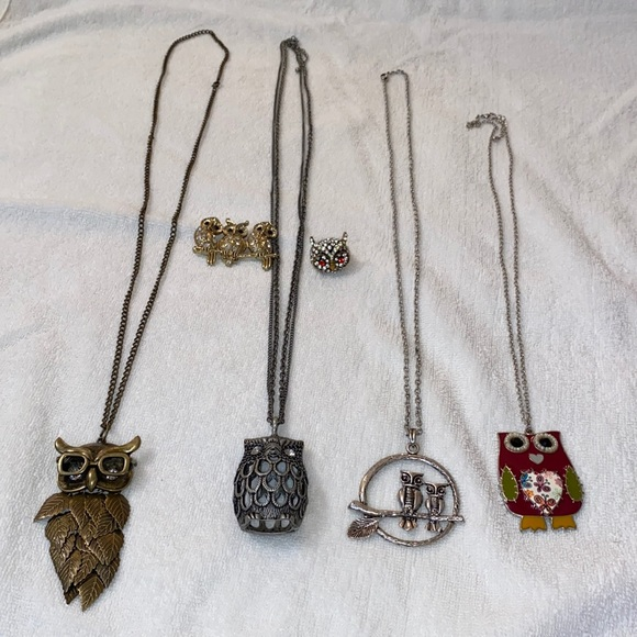 Set of 6 - owl necklaces, ring, and brooch
